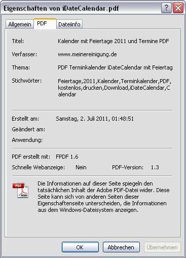 Bild zeigt das Eigenschaftsfenster einer PDF-Datei.